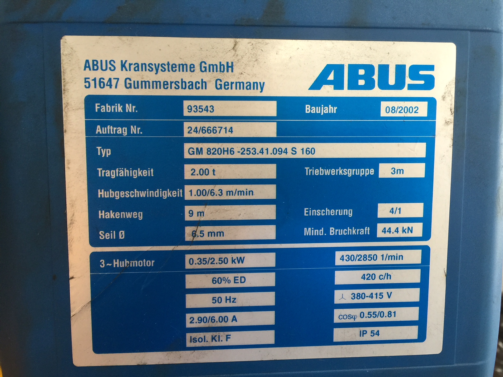Abus hoist description plate.