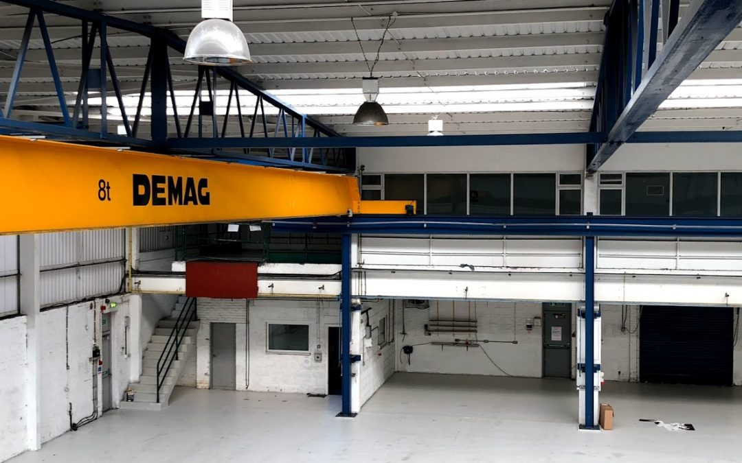 Single girder DEMAG crane for sale. Hardly used. 8t SWL comes with supporting crane rails