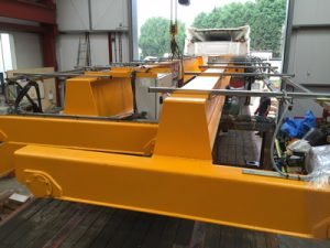 Recent delivery of end carriages on a finished crane