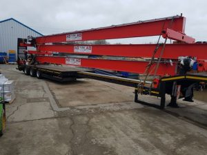crane loaded to transport