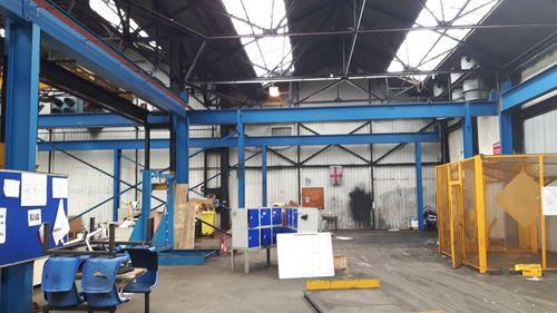 Gantry crane steel painted blue