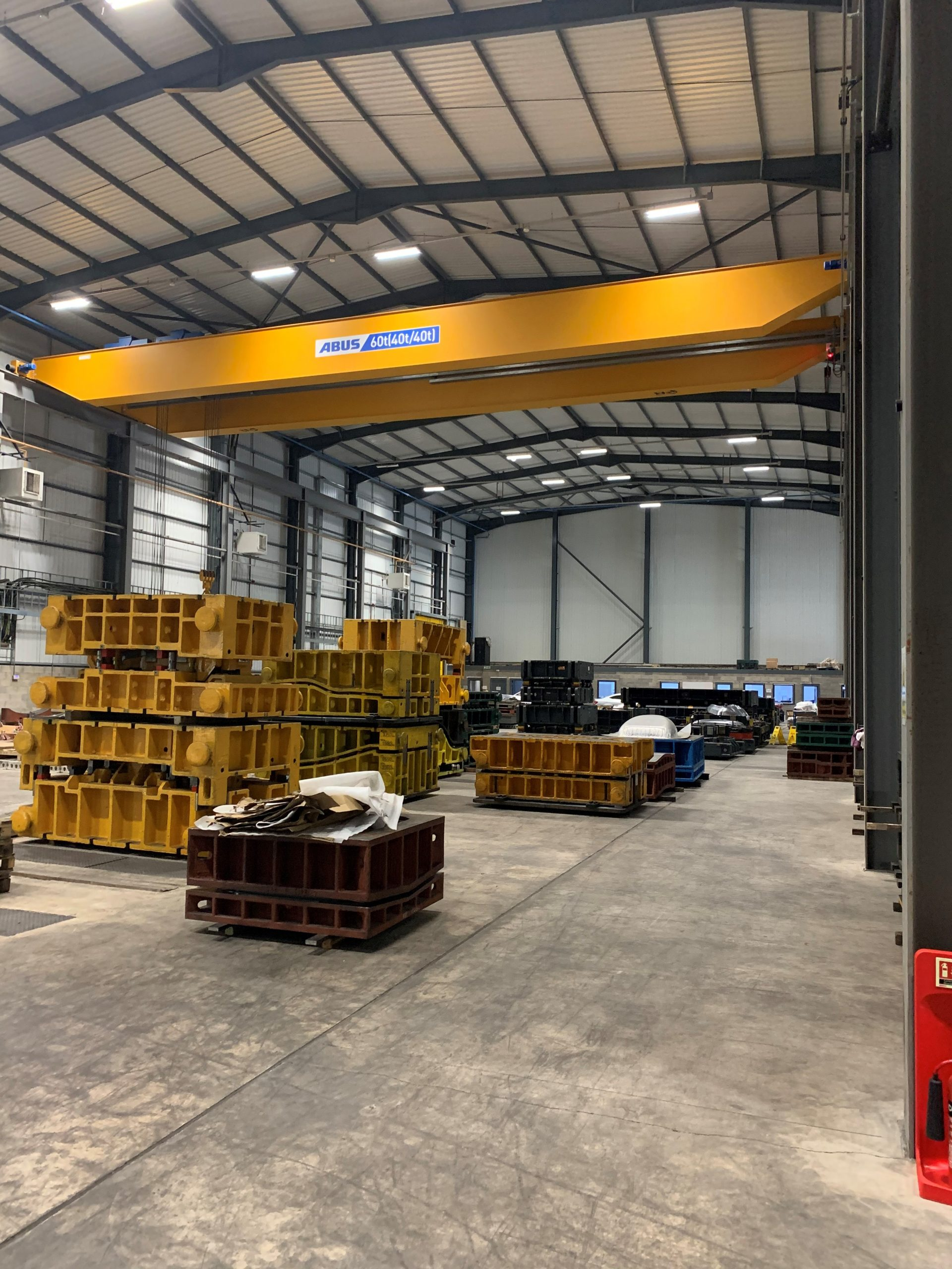 60 tonne safe working load Abus crane, complete with 2 hoists with rams horn hooks
